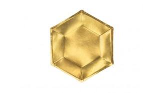 assiette hexagonale or