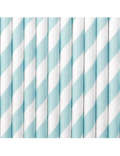 paille en papier bleu