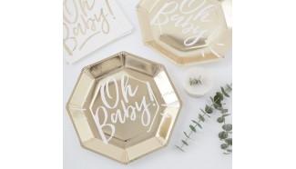 assiette en carton doré baby shower