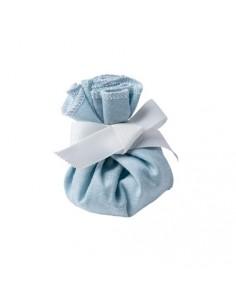 bourse en lin bleue