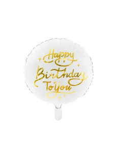 ballon happy birthday blanc