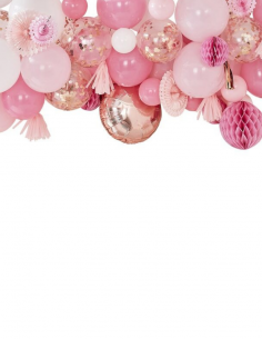guirlande de ballons rose et pompons