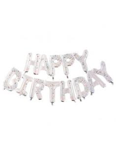 Ballons Happy Birthday confettis arc-en-ciel