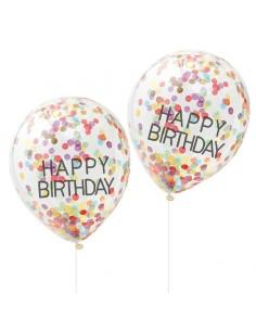 Ballons transparent confettis pour anniversaire