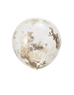 Ballons transparents confettis roses gold