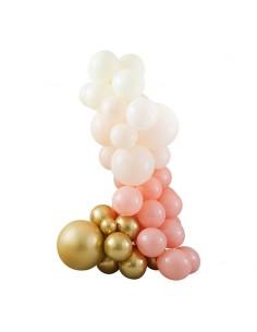 Kit arche de ballons rose blanc et or