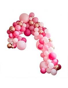 Arche de ballons rose et rose gold