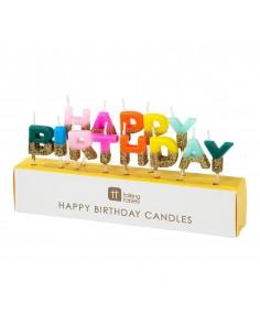 bougies happy birthday multicolore