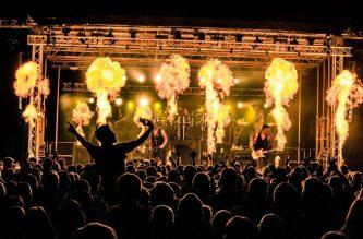 Projecteur pour machine à flamme lors d'un concert