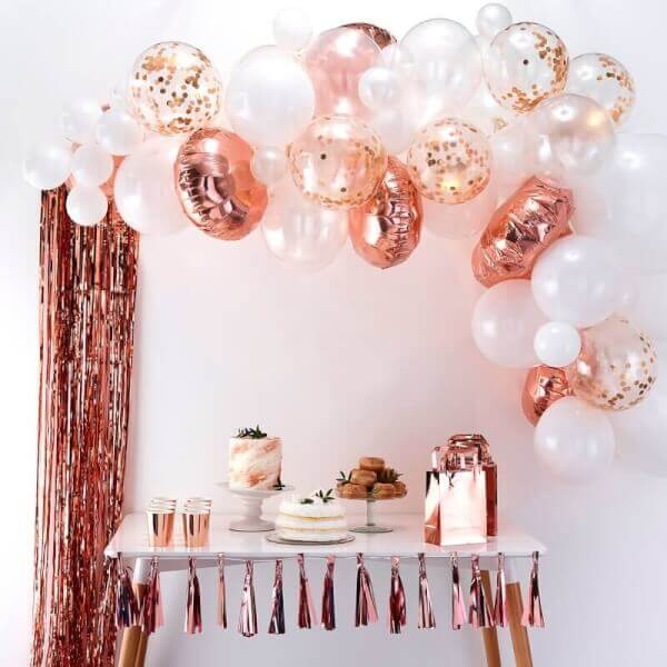 arche ballon rose gold