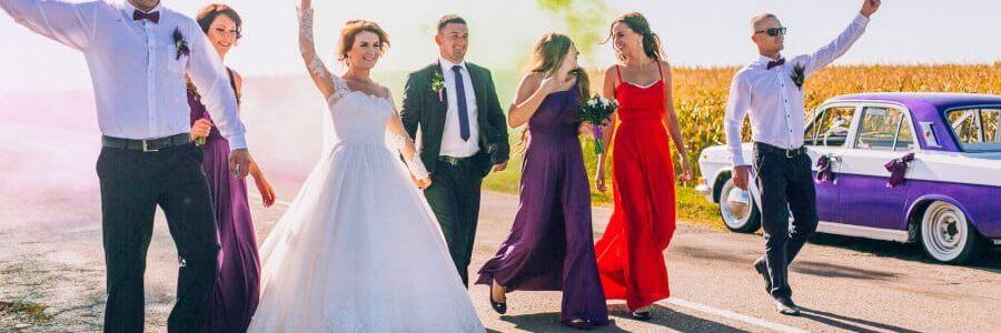fumigene mariage coloré violet et vert